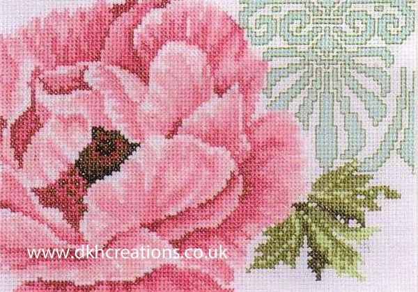Pink Flower With Ornament Cross Stitch Kit